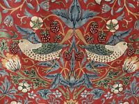 "WILLIAM MORRIS ""STRAWBERRY THIEF"" 2.6 metres cotton curtain fabric CRIMSON RED"