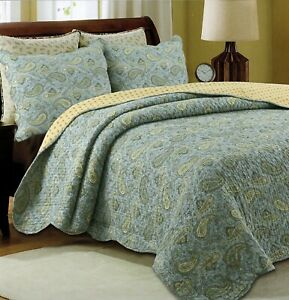 Green Persian 100% Cotton 3-Piece Quilt Set, Bedspread, Coverlet