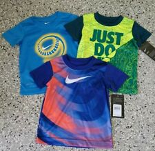 Lot of 3 New Nike Dri Fit Kids Boys Short Sleeve Graphic T-Shirt Tee Size: 2T