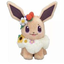 Pokemon Center Original Plush Doll Eevee Easter Flowers Kawaii Cute Japan Soft