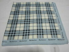 """USED WHITE WITH BLUE PLAID PATTERN COTTON 20"""" HANDKERCHIEF HANKY FOR LADIES"""