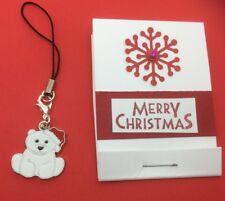 Oso Polar Cremallera tirar, teléfono móvil, clip en pulsera con dijes, Girl's Regalo De Navidad