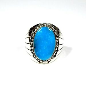 Navajo Made Huge Sleeping Beauty Turquoie 925 Sterling Silver Men's Ring Size 13