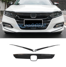 3PCS ABS Carbon Fiber Front Hood Cover Decoration Trim For Honda Accord 2018-19