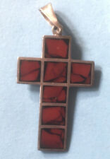 Vintage Solid Silver Cross With Red Jasper Mexico Hallmark