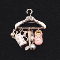 Pink Enamel Crystal Pearl Shoe Coat Hanger Charm Betsey Johnson Brooch Pin Gift