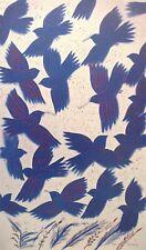 "Alekos Fassianos  ""BLUE BIRDS""  Offset-Litho Print Greek Artist c.1982"
