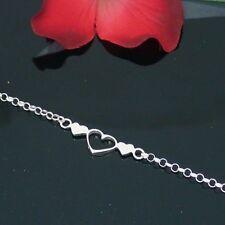 """Adjust 9-10"""" Silver Heart Anklet Ankle Bracele"""