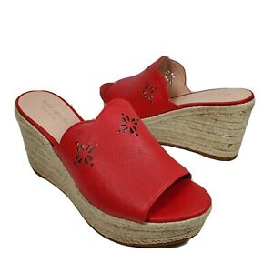 Kate Spade women Sandals Espadrille Wedge Tia Cherry Red Leather sz 6.5 $248 new