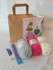 Learn To Knit Starter Knitting Kit  ❤ Children / Adult Beginners CHOOSE COLOURS