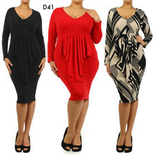 D41 New Womens Long Sleeves Club Party Evening Work Plus Size Bodycon Midi Dress