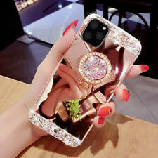 For iPhone 11 Pro Max/11 Bling Glitter Diamond 360 Ring Stand Mirror Case Cover