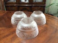 VINTAGE ANTIQUE VICTORIAN FLORAL DECORATED  GLASS  LAMP SHADE Set of 3
