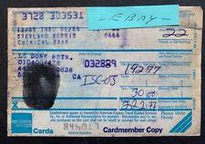 STEVIE WONDER  THUMBPRINT SIGNED CREDIT CARD RECEIPT - LE DOME RESTAURANT