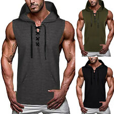 Men's Gym Fitness Workout Jogging Sleeveless Muscle Tee Hooded Tank Top T-Shirt