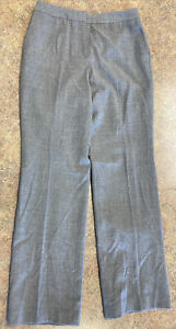 Talbots Women Gray Flat Front Bootcut Lined Wool Stretch Fabric Pant Size 6