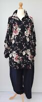"""LAGENLOOK* BEAUTIFUL FLORAL PRINT LONG SHIRT/BLOUSE**BLACK**BUST UP TO 46"""""""