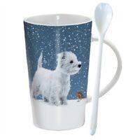 Winter Westie Hot Chocolate / Latte Mug & Spoon - Ideal Terrier Dog Lover Gift