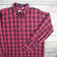 L.L.BEAN Vintage Men's Long Sleeve Button Front Made In USA Shirt L Large Plaid
