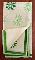 "Vintage Vera Scarf Green Flowers Floral 1950s Silk 16"" Square Beautiful!"