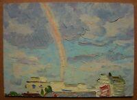 Russian Ukrainian Soviet Oil Painting impressionism Cityscape rainbow clouds sky