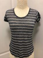 Vince Women's Knit Top XS Navy Blue White Striped Short Sleeve Cotton Blend