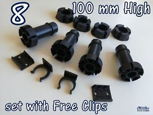 Set 8 Kitchen Plinths  Legs 100 mm  Cabinet Unit Base Adjustable 4  Clips Free