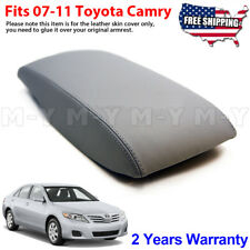 Fits 2007-2011 Toyota Camry Leather Center Console Lid Armrest Cover Skin Gray