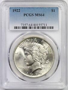 1922 Peace Dollar Silver $1 MS 64 PCGS