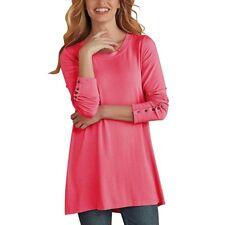 Women Button Pullover Tops Long Sleeve Loose Long Blouse Shirt Autumn Tunic Tops