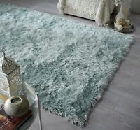 DAZZLE SPARKLE DUCK EGG BLUE SILKY SOFT PILE  SHAGGY RUG in various sizes