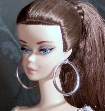Barbie Dreamz SILVER Xtra Large HUGE HOOPS Hoop MOD EARRINGS Doll Jewelry