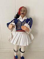 "Vintage Greek Folk Art Doll 15"""