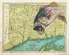 Largemouth Bass Fishing Anglers Club Connecticut State Map Art Print Lures MAP37