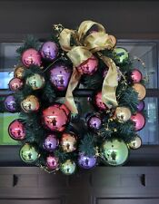 Multi Color Christmas Ball Ornament Wreath Purple Pink Lime Green Gold Bow