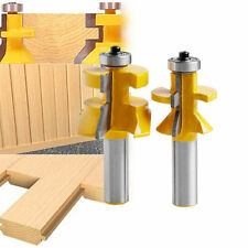 2Pcs Matched Tongue and Groove V-Notch  Router Bit Set Wood Cutting Tool