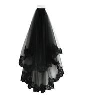 Schwarzer Spitze Schleier Kathedrale Hochzeit Halloween Schleier mit Kamm