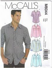 Mens Button Up Down Front Shirts Collar McCalls 6044 Sewing Pattern S M L 34-44