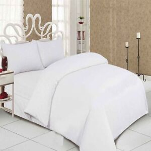 Flannelette Thermal Brushed Cotton White Duvet Quilt Cover Set with PillowCases