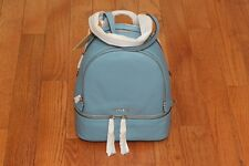 NWT Michael Kors $298  Rhea Zip Small Leather Backpack Bag Sky/Silver