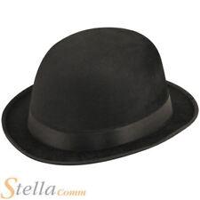 Black Felt Velor Bowler Hat Victorian Fancy Dress Costume Accessory