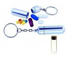 PILLBOX CASE STASH CONTAINER KEY RING CHAIN WITH VIAL FOR POWDERS PILLS KEYRING