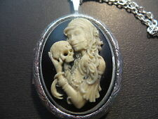 CAMEO- HAND PAINTED GOTH LOLITA WITH SKULL  LOCKET