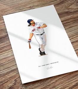 Johnny Damon Boston Red Sox Baseball Illustrated Print Poster Art