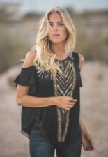 """FREE PEOPLE Black Cold Shoulder Top Tribal Embroidery M """"RARE"""" 🦄"""