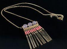 Haute Couture Natural Rose Quartz Gemstone Pendant Fringe Gold Tassel Necklace