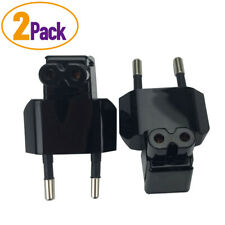 2PCS CEE7/16 2-prong EU Power Cable Adapter Plug to IEC C7 Figure 8 Right Angled
