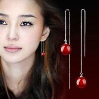 Mujer Pendientes Largos Aretes 925Plata Colgante Cadena Natural ágata Earring