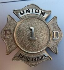 UNION Hamburg PENNSYLVANIA FIRE DEPARTMENT BREAST BADGE Rare ! Free Shipping