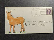 DEMOCRAT, NC Postal History Cover 1939 HAND DRAWN Donkey Cachet